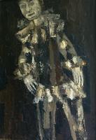 Clown in bruin tinten  70x100cm